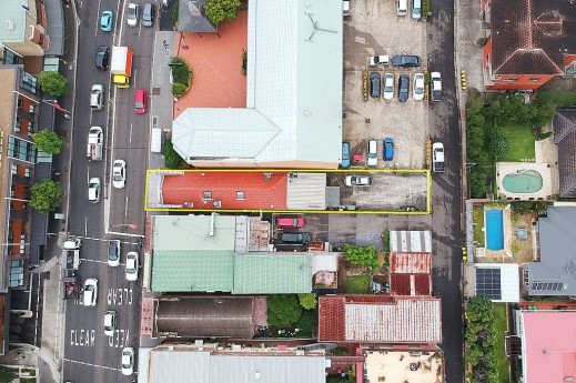 Aerial view front to back