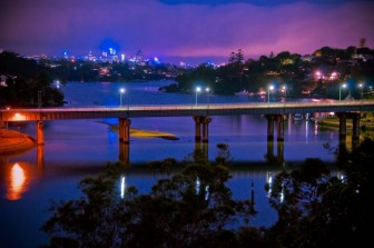 Figtree Bridge at night